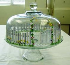 Gate & fence painted glass cake cover. Great wedding gift idea.