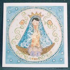 [c] Estampa Virgen de Lujan Manto Turqueza Catholic Crafts, Mosaic Crosses, Holy Mary, Mother Mary, Transfer Paper, Religious Art, Mom And Baby, Communion, Gods Love