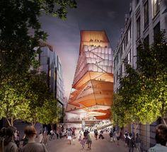 Diller Scofidio + Renfro. Centre for Music . London afasia (1) One Design, Urban Design, Music Museum, Rendering Art, Barbican, Unique Architecture, Building Exterior, Concert Hall, Uk News