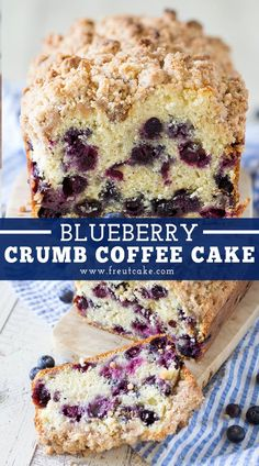 Blueberry Crumb Coffee Cake tastes like a delicious blueberry bakery muffin in the form of coffee cake with a cinnamon crumb topping! Blueberry Loaf Cakes, Blueberry Crumble, Blueberry Recipes, Blueberry Pudding Cake, Blueberry Crumb Muffins, Carrot Recipes, Potato Recipes, Pastas Recipes, Pizza Recipes