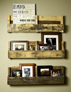 Cut apart a palette for quick and easy shelving with character.