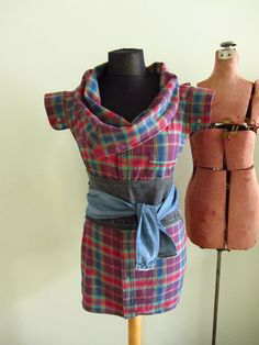 Repurposed Rainbow Plaid Flannel Boyfriend Tunic - made from man's flannel shirt - Womens Upcycled Clothing - Size Large XL