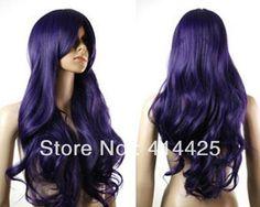 COS sexy Wavy long Dark Purple women's wig Kanekalon Fiber Hair curly wigs