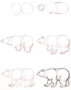 Learn to draw: Bear - Graphic / Illustration - Art Tutorial Drawing Lessons, Drawing Techniques, Drawing Tutorials, Art Tutorials, Animal Sketches, Animal Drawings, Drawing Sketches, Drawing Animals, Sketching