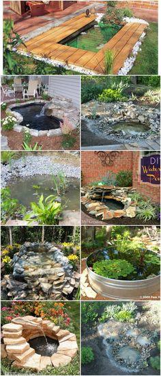 15 Budget Friendly DIY Garden Ponds You Can Make This Weekend #diy #gardening #backyard #ponds #waterfeatures via @vanessacrafting