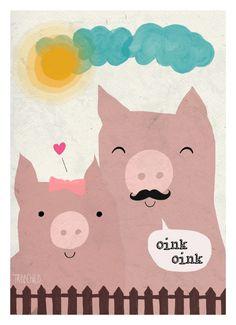 """Digitaldruck - Print """"Mrs. und Mr. Schwein"""" DIN A 4 - ein Designerstück von TreeChild bei DaWanda"""