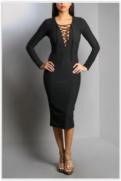 Long Sleeve Little Black Dress- Only Small & Large In Stock