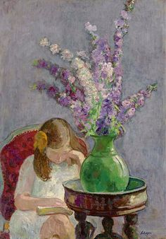 """Henri Lebasque (French, Post-Impressionism, Oil on canvas. Lebasque was called """"the painter of joy and light,"""" by both critics and artists. He was admired for the intimacy of his themes and the unique joy in his colors and forms. Reading Art, Girl Reading, Children Reading, Reading Books, Girls With Flowers, Oil Painting Reproductions, Renoir, Monet, Oeuvre D'art"""
