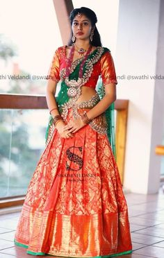 12 Trending Half Sarees for Special Occasions - Candy Crow - 12 Trending Half Sarees for Special Occasions – Candy Crow Source by subhavarun - Lehenga Saree Design, Half Saree Lehenga, Lehnga Dress, Saree Look, Lehenga Designs, Wedding Saree Blouse Designs, Half Saree Designs, Wedding Sarees, Indian Bridal Outfits