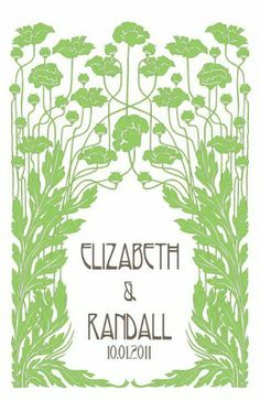 with this ring, i thee obsess: Art Nouveau Garden Wedding Invitations
