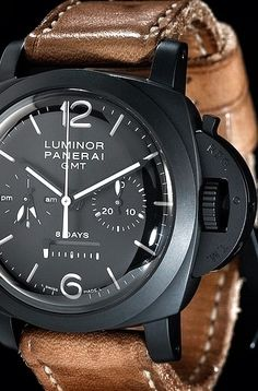 Panerai. Brown leather and black watches just work so well together.