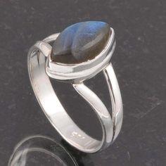 BLUE FIRE LABRADORITE 925 SOLID STERLING SILVER FASHION RING 3.58g DJR6395 #Handmade #Ring