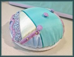 Crazy-quilted pincushion (finished).