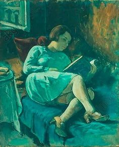 """""""Reclining Woman with Book"""".  Painting, undated, by Imre Goth (1893–1982). Oil on canvas, 99 × 75cm. London art market (Bonhams), 1993."""