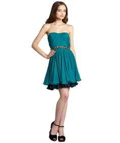 Vera Wang Lavender Label turquoise crinkle silk chiffon strapless dress