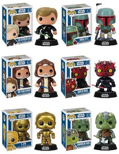 Star Wars Pop! Vinyl Bobble Heads Wave 2 - Jedi Luke Skywalker, Boba Fett, Obi-Wan Kenobi, Darth Maul, C-3PO & Gamorrean Guard