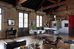 Would love to live in a cool indoor space like this.