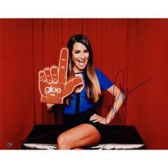 Lea Michele Signed Horizontal w/ Glee Foam Finger 11x14 Photo