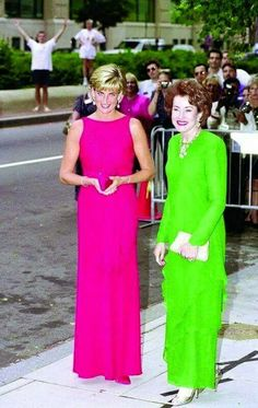 June 17, 1997: Diana, Princess of Wales with President of the Red Cross & wife of Senator Bob Dole, Elizabeth Dole prepares to address a gala benefit for victims of land mines at the National Museum of Women in the Arts in Washington, D.C.