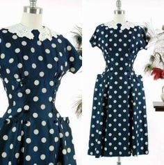 Dress Vintage New Look Navy Blue and White Polka Day Dresses, Prom Dresses, Vintage Gowns, Dress Vintage, Fifties Fashion, Full Skirt Dress, Designer Gowns, Fashion Wear, Fashion History