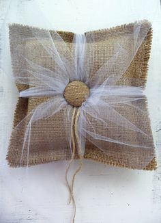 So pretty and rustic at the same time. This burlap ring bearer pillow is made from 100 percent Italian jute burlap. It has been softened in Burlap Ring Pillows, Burlap Monogram, Monogram Signs, Ring Bearer Pillows, Rustic Pillows, Primitive Wedding, Rustic Wedding, Wedding Burlap, Wedding Ideas
