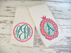 Set of Applique and Decorative Frame Burp Cloths - More Design Choices Available. $18.50, via Etsy.
