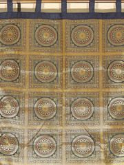 "Black Mandala Gold Brocade Curtain - Stylish Lined Indian Window Panel 82"""