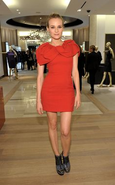 Diane Kruger wearing Alexandre Birman for Prabal Gurung Fall 2010 Ankle Boots, Prabal Gurung Crepe Caplet Dress,