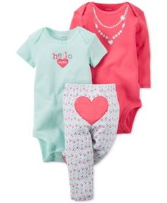 Carter's Baby Girls' 3-Pc. Hearts Bodysuits & Pants Set
