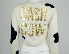 Moschino Couture cash cow wool cashmere short sweater size Medium -    Edit Listing  - Etsy