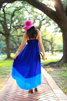 Blue maxi dress and pink hat
