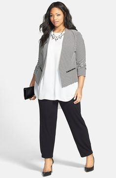 Sejour Ottoman Jacket, Crepe Tunic & Knit Pants (Plus Size)  available at #Nordstrom