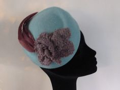 Teal blue felt hat,   small blue cocktail hat with purple rooster feathers and rose ' COURTNEY' retro style