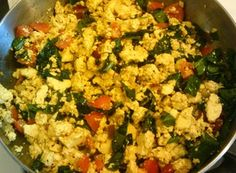 The Very Best #Tofu Scramble Ideas: Tofu and vegetable scramble with spinach. Gorgeous in a burrito with homemade tomato salsa. Used every piece of veg in the fridge! Mushrooms, spinach, onions, peppers. Fooled himself and  loved by kids too. #vegan