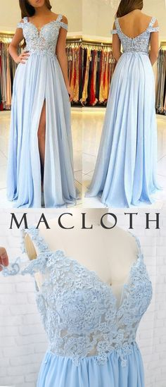 MACloth Off the Shoulder Lace Chiffon Long Prom Dress Sky Blue Formal Evening Gown Hoco Dresses, Blue Dresses, Formal Dresses, Lace Chiffon, Lace Back, Couture Fashion, Evening Gowns, Homecoming, Off The Shoulder
