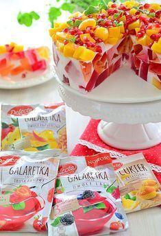 Lekki sernik jogurtowy z owocowymi galaretkami Polish Desserts, Polish Recipes, Cookie Desserts, No Bake Desserts, Easy Desserts, Gelatin Recipes, Jello Recipes, Dessert Recipes, Summer Cakes