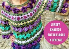 Jersey de crochet flores y cenefas