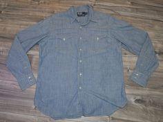 Ralph Lauren Polo Mens XL Denim Shirt New Classic Western Style Extra Large  #RalphLauren #WesternShirt