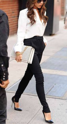 White Long-Sleeved Top, High Waisted Black Trousers Pants, Black Pointed Toe Stiletto Heels, White Boxy Clutch and Aviators, Victoria Beckham