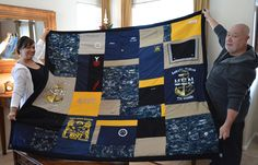 Found a talented woman who put this together for us. This quilt was made from my boyfriend's old/new Navy uniforms, and was a Christmas gift to his parents.