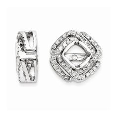 14K White Gold Diamond Square Earrings Jackets