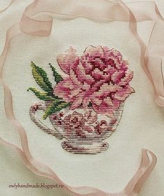 Cross-stitched peony by Ksenia (Owl Laughing) Cross Stitch Pillow, Cross Stitch Needles, Cross Stitch Heart, Modern Cross Stitch, Cross Stitch Flowers, Cross Stitch Designs, Cross Stitch Patterns, Quilt Stitching, Cross Stitching
