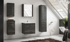 Products Stylefy Grotteria Bad Set schwarz Hochglanz If you are unable to find one of your local hom Furniture, Bathroom Furniture, Bathroom Furniture Sets, Wooden Bathroom Cabinets, Bathroom Sets, White Bathroom Cabinets, Inside A House, Furniture Sets, Bathroom Corner Storage