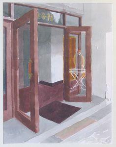 Painting trip to the hotel door - Marjatta Hanhijoki , Hotel Door, Windows, Doors, Watercolor, Mirror, Illustration, Painting, Furniture, Art