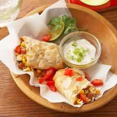Crispy Chipotle Bean Burritos; Use phyllo dough for a crispy, melt-in-your-mouth burrito wrap. Filled with beans, brown rice, tomatoes, and corn, they're a filling meal on their own.