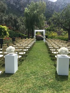 Ceremony all ready waiting for the guests and then the bride and Groom. Stunning backdrop of Deia