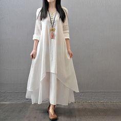 2016-Spring-Plus-Size-Women-Casual-Long-Sleeve-Cotton-Linen-A-Line-Shirt-Dress