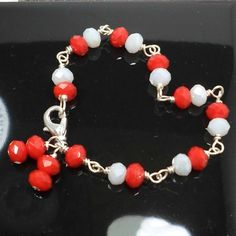 Wirework chain bracelet handmade red and AB white crystals size 7 1/4 Pat2 #Pat2 #Chain