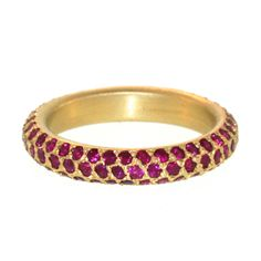 Curved Triple Row Ruby Pave Band | From a unique collection of vintage band rings at http://www.1stdibs.com/jewelry/rings/band-rings/
