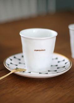 Sézane / Morgane Sézalory - Collection Lifestyle - Alix de Reynis for Sézane porcelain mug - monsieur #sezane www.sezane.com